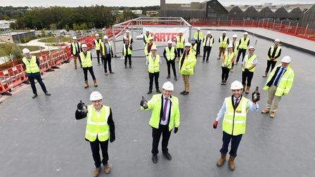 Celebrating the 'topping off' of Norwich Research Park's new £5m labs. Picture: New Anglia LEP