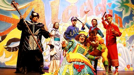 Cast members from last year's panto Aladdin on stage at King's Lynn Corn Exchange, where this year's