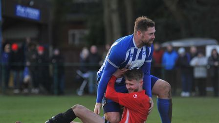 Grant Holt played at the heart of Wroxham's defence in the FA Cup win over Arlesey. Picture: Tony Th