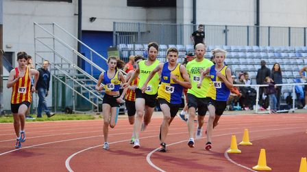 Action from one of the 800m races at the Joe Skipper Track Challenge. Picture: Baz Hipwell