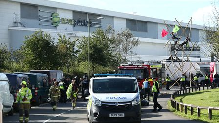 Police and fire services outside the Newsprinters printing works at Broxbourne, Hertfordshire, as pr