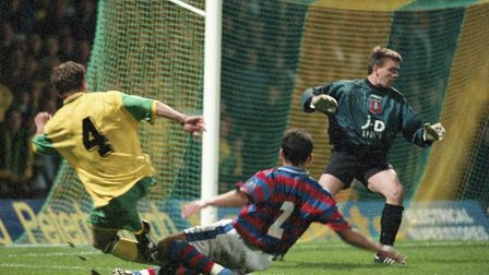 Yellow and green nets during the NCFC v Oldham Athletic (2-0) match on 16 October 1996. Picture: Arc