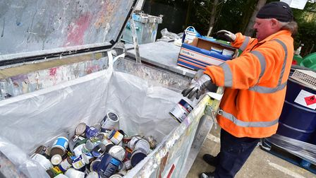 Long queues have built up as a hazardous waste amnesty at seven Norfolk recycling centres began. Pic