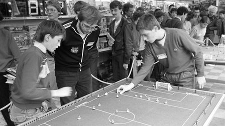 A Subbuteo final taking place in Ipswich in March 1985