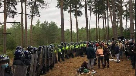 Police at the scene of an illegal rave in Thetford Forest. Picture submitted.