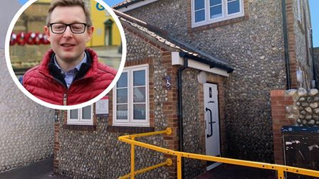 The public toilets in Lushers Passage, Sheringham, and, inset, Duncan Baker. The North Norfolk MP sa