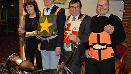 Pam and Trevor Hedge with Ove Fundin and Ray Bales, wearing a rare Yarmouth Bloaters vest as a tribu