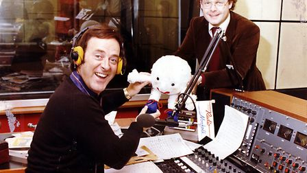 Terry Wogan making a guest appearence on Radio Norfolks first breakfast show in September 1980. Pict