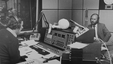 Terry Wogan at Radio Norfolk talking to Keith Skipper as the station began broadcasting 40 years ago