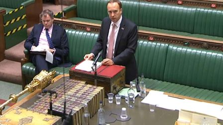 Health Secretary Matt Hancock giving a statement to MPs in the House of Commons. Picture PA Wire.