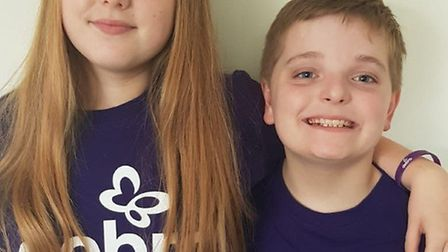 Lewis Walker, aged 10, and his sister Chloe, 14 who have been fundraising for Debra UK. The charity
