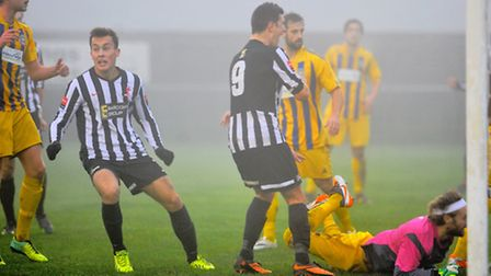 Toby Hilliard finding the net for Dereham earlier this term. Picture: STEVE ADAMS