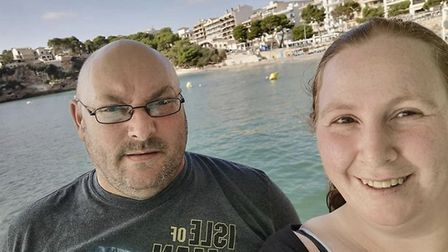 Tracey Roberts and her partner Paul Jones, pictured on holiday before lockdown. Tracey, who suffers