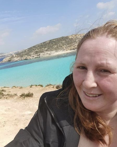 Tracey Roberts, pictured on holiday before lockdown. Tracey, who suffers from a rare heart defect ca