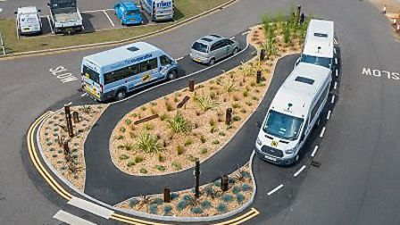 The new landscaped island helps social distancing and parking at Sheringham Woodfields School. Pictu