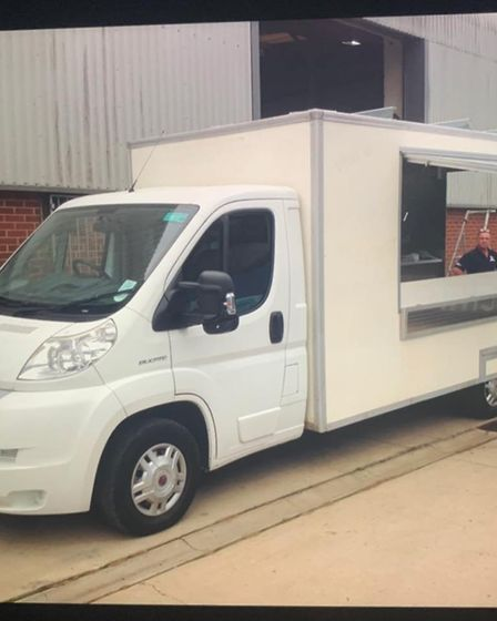 Peter Thorograte has launched a fish and chip van called Chish and Fiddy. Pictured is the van before