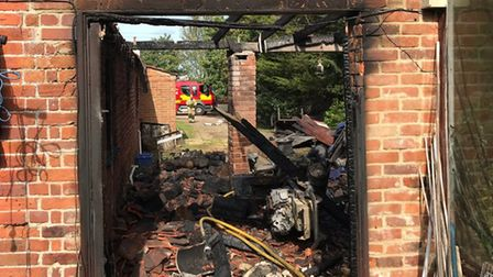 An outbuilding was damaged during a fire in Oulton, Lowestoft. Picture: North Lowestoft Fire Station