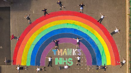 Magnificent rainbow painted on the playground at Sheringham Community Primary School and Nursery by