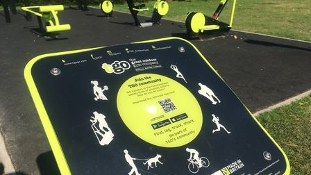 The outdoor gym equipment at the Memorial Park in North Walsham that has been smeared in chocolate s