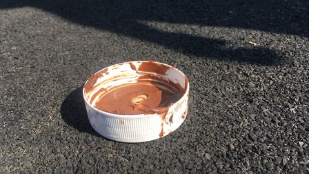 Chocolate spread lid left by the outdoor gym equipment at the Memorial Park in North Walsham. Pictu
