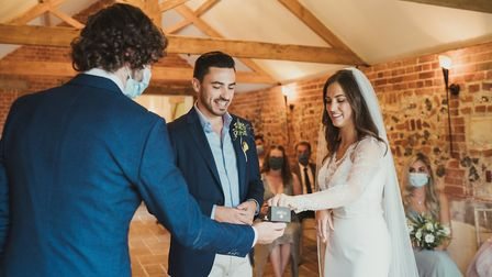 Newlyweds Anna-Grace Easton and Joseph Easton, the first to get married at Hautbois Hall's new cerem