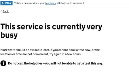 The message Camille Mack received when she tried to book a home testing kit. Photo: Gov.uk