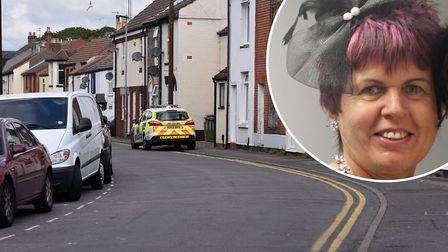 The police presence on South Market Road, Great Yarmouth after Linda Rainey (pictured) was confirmed