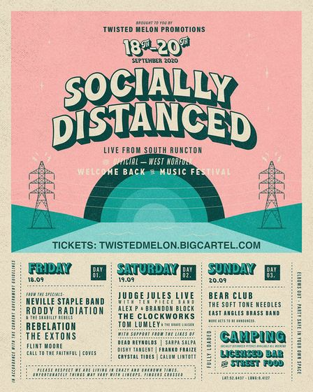 The full line-up for the Socially Distanced Festival, which is running in South Runcton from Septemb
