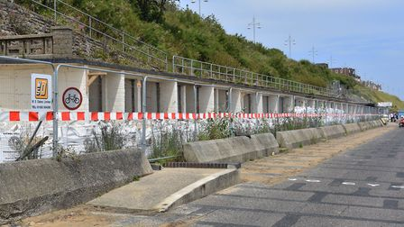 The chalets at Jubilee Parade in Lowestoft in July ahead of major construction works. Picture: Mick