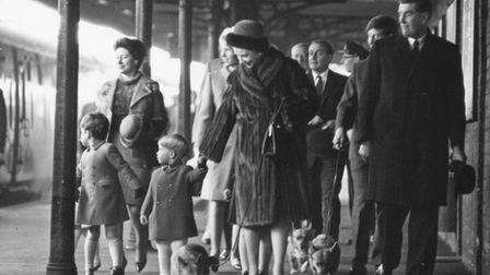The arrival of the Royal Family at King's Lynn station for their annual Christmas and New Year holid