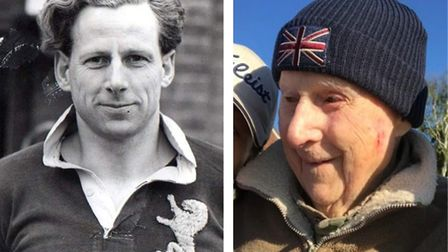 Logie Bruce-Lockhart, pictured left, in his younger days as an Scottish international rugby player,