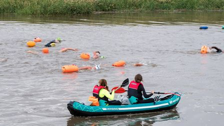 The King's Lynn river swim, which starts in Denver and finishes by the Corn Exchange in King's Lynn.