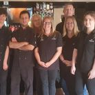 The team at The White Hart pub in Swaffham. From left trainee chef Gordon, chef Leo, catering manage