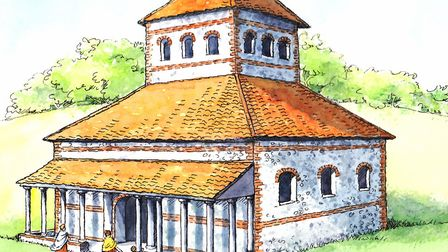 A reconstuction painting of the Roman temple found at Caistor St Edmund. Picture: Jenny Press