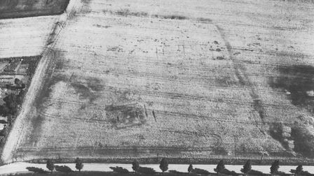 An aerial photograph of the Roman temple site at Caistor St Edmund. Picture: D. Edwards. Copyright N