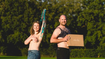 Littlelifts bra campaing launch. Laura Middleton with electrician Tim Conway. Picture: James Rouse P