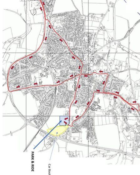 A possible route for a 'hopper' bus connecting Aylsham's newer estates and proposed long-stay car pa