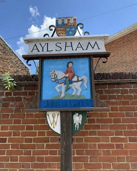 The town sign in Aylsham, which features John of Gaunt, lord of the manor from 1372. Picture: STUART