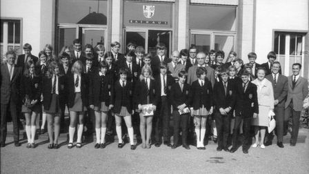 A group of North Walsham High School students outside Mayen town hall in 1970. Photo: North Walsham