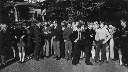 The first group of students to leave North Walsham High School for the Albert Scheitzer Realschule i