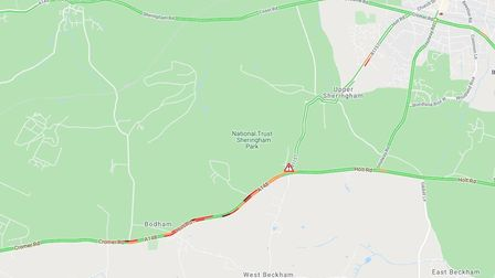 A crash on the Cromer Road at Bodham has closed the road in both directions. Picture: Google Maps