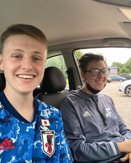 Ellis with pal Ben Gibbs on another Away Day for his YouTube channel. Picture: Ellis Platten