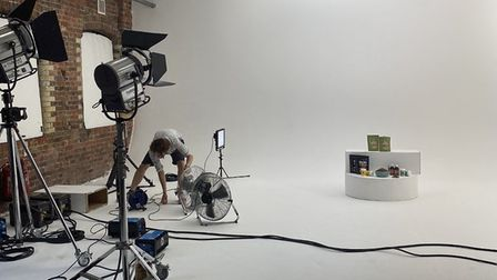 Preparing the set at Buddy and Lola's video shoot in London. Picture: Supplied by Buddy and Lola