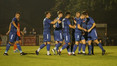 Lowestoft players congratulate Louis McIntosh on his goal against Bury Town Picture: Shirley D Whitl