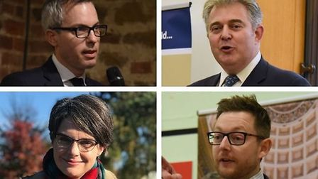 Clockwise from top left, James Wild MP, Brandon Lewis MP, Duncan Baker MP and Chloe Smith MP. Picture: Archant