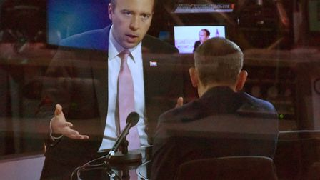 Health secretary Matt Hancock being interviewed on The Andrew Marr Show. Pic: Jeff Overs/BBC/PA Wire