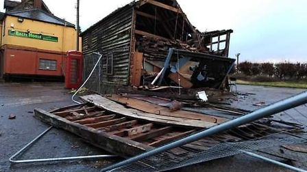 Destruction caused by Storm Ciara at the Mermaid Inn in Hedenham near Bungay. Pictire: Sally Connor