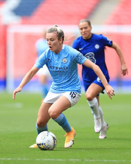 Lauren Hemp in action for Manchester City against Chelsea in the Community Shield. Picture: Matt McN