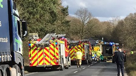 The scene of a crash at Little Fransham, A47, which killed Peter Stebbings and Calvin Beckett