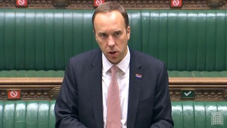 Health Secretary Matt Hancock giving a statement to MPs in the House of Commons, London. PA Photo. P